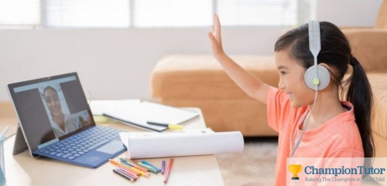 child Studying online from online tutor